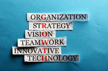 vision concept: growth  acronym in business concept, words on cut paper hard light Stock Photo