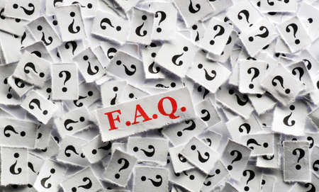 FAQ  question marks on white papers -hard light photo
