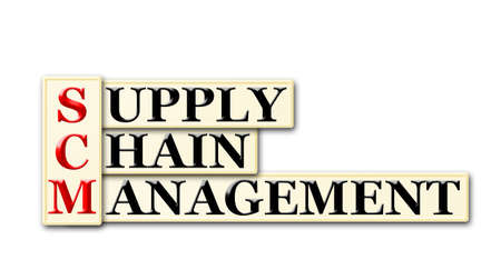 Conceptual SCM Supply Chain Management  acronym on white photo