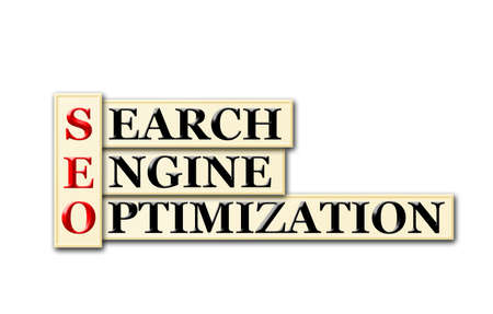 searh: Conceptual SEO Searh Engine Optimization  acronym on white  Stock Photo