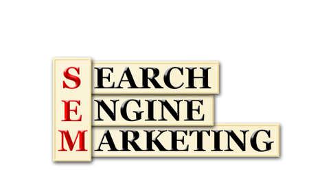 searh: Conceptual SEM Searh Engine Marketing  acronym on white