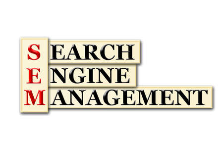 sem: Conceptual SEM Searh Engine Management  acronym on white Stock Photo