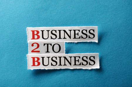 b2b acronym, words on cut paper hard light photo