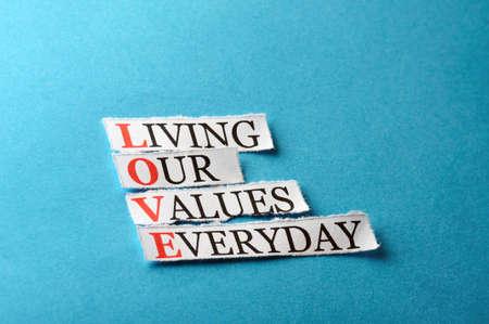 hard love: love  acronym concept , words on cut paper hard light
