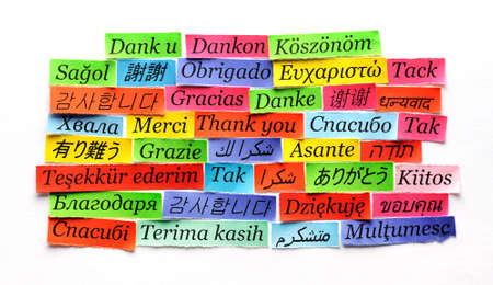 Thank You Word Cloud printed on colorful  paper different languages photo