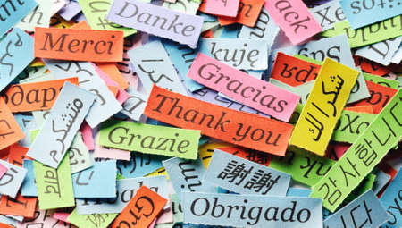 Thank You Word Cloud printed on colorful  paper different languages Stock fotó