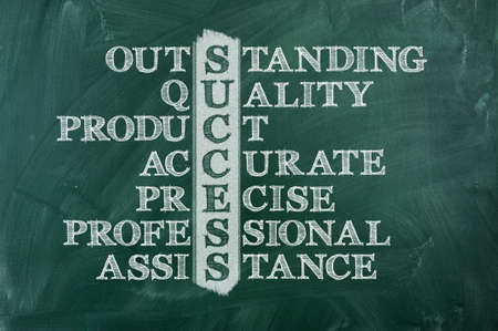 Success and other related words, handwritten in crossword on green blackboard  photo