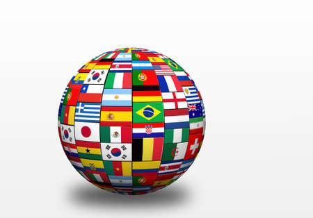 3D sphere  with drop shadow and flags representing all countries participating in football cup in Brazil in 2014  photo