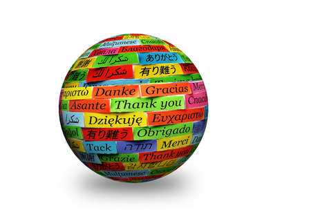 Thank You Word Cloud printed on colorful  paper  photo