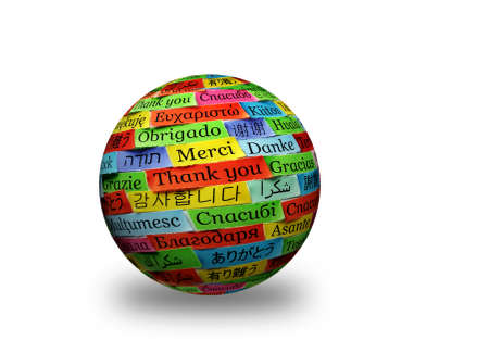 Thank You Word Cloud printed on colorful  paper different languages 3d ball