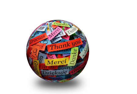 french text: Thank You Word Cloud printed on colorful  paper different languages 3d ball