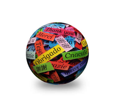 Thank You Word in different languages on  3d ball. Obrigado in center Stock fotó