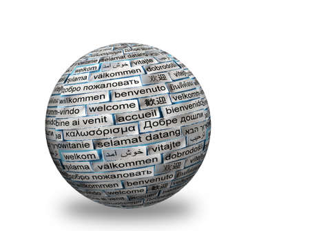 welcome Word Cloud in different   languages  on 3d sphere photo