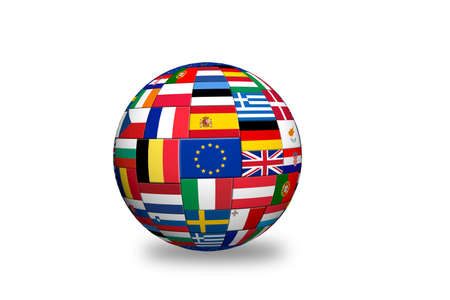 Flags of EU countries on globe sphere ball