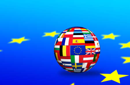 Flags of EU countries on globe sphere ball  photo