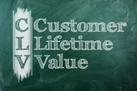 custumer: CLV - Custumer Lifetime Value acronym on green chalkboard Stock Photo
