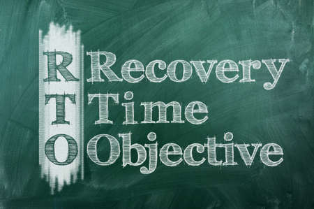 time critical: RTO - Recovery Time Objective acronym on green chalkboard