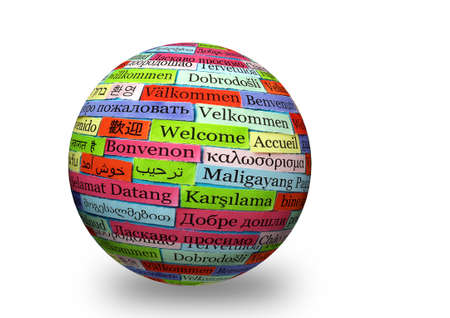 welcome colorfull   in different languages on 3d sphere photo