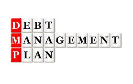 debt management: DMP - Debt Management Plan acronym on white background