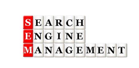 searh: Conceptual SEM Searh Engine Management acronym on white  Stock Photo