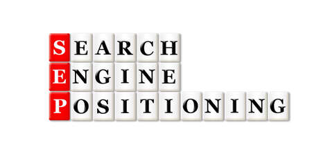 searh: Conceptual SEP Searh Engine Positioning acronym on white