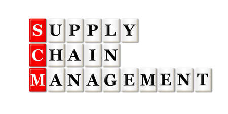 scm: Conceptual SCM Supply Chain Management acronym on white