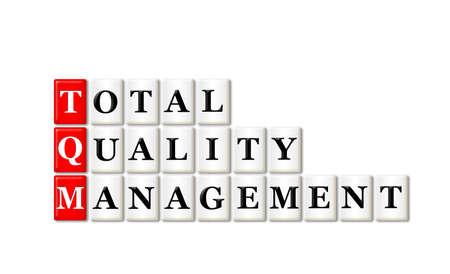 Conceptual TQM Total Quality Management acronym on white  photo