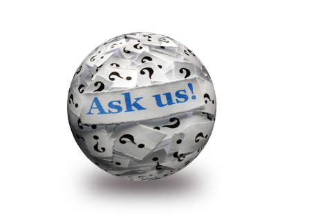 ask us question marks , white papers on  3d sphere -hard light photo