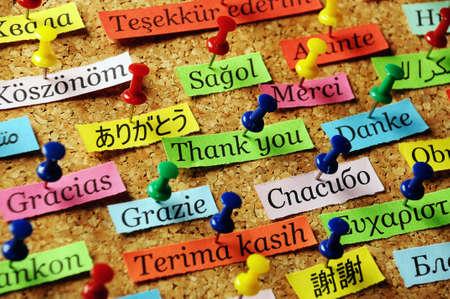 カラフルな紙の異なる言語にあなたに感謝単語コルクボードに固定