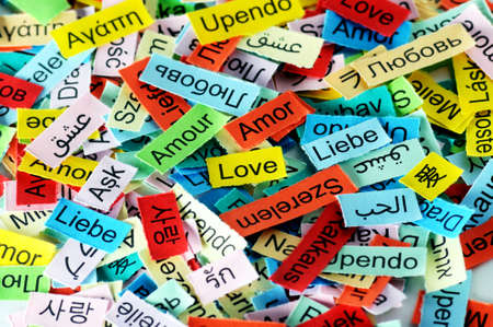 LOVE  Word Cloud printed on colorful paper different languages photo