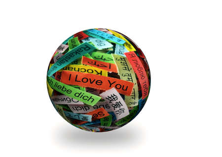 multilingual: I Love You  multilingual   Word Cloud printed on colorful paper 3d sphere Stock Photo