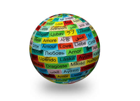 LOVE  Word Cloud printed on colorful  3d sphere  different languages photo