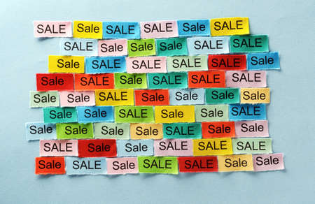 Sale  Word Cloud printed on colorful paper