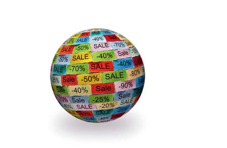 Sale  Word Cloud printed on colorful 3d sphere