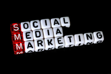 smm: SMM Social Media Marketing definition  acronym on black