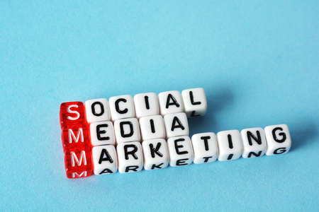 SMM Social Media Marketing definition  acronym on blue