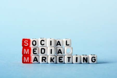 smm: SMM Social Media Marketing definition  acronym on blue