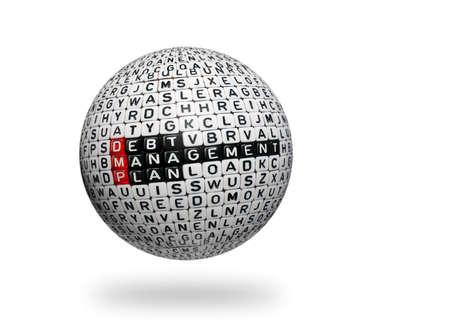 debt management: cubes with text  dmp ,debt management plan on 3d sphere