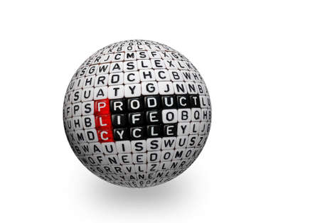 cubes with text PLC ,Product Life Cycle on 3d sphere