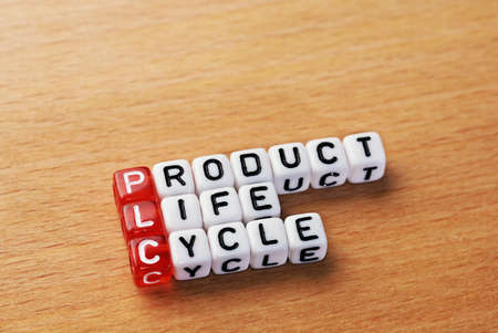 plc: cubes with text PLC ,Product Life Cycle Stock Photo
