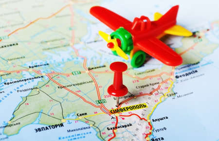 annexation: Close up of Simferopol ,Ukraine or Russia , map with airlane Stock Photo