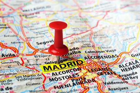 Close up of Madrid  ,Spain map and red pin - Travel concept