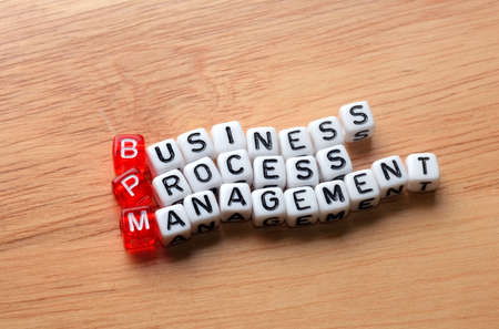 bpm: bpm  business process management on  dices  on wooden  background