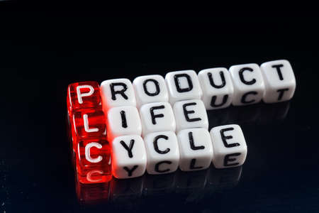 plc: PLC Product Life Cycle written on dices on black  background