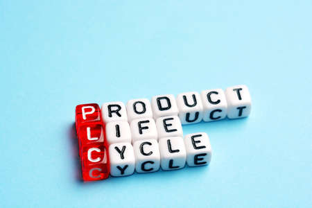 plc: PLC Product Life Cycle written on dices on blue background