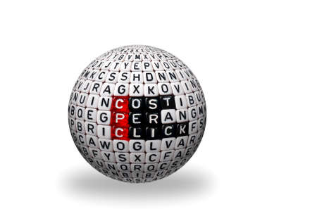 cpc: CPC Cost Per Click writen on dices on 3d sphere