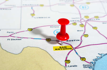 Close up of San Antonio  Texas  USA  map with red pin   - Travel concept