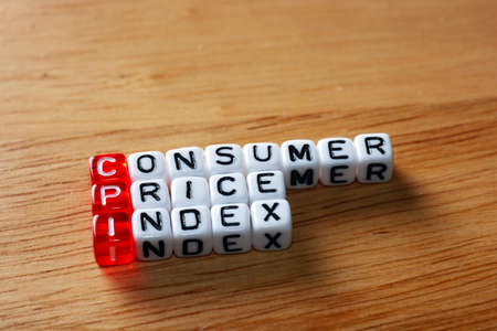 deflation: CPI Consumer Price Index definition written on dices Stock Photo