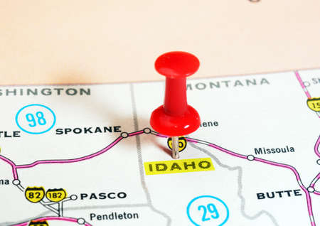 red pin: Close up of  Idaho  state USA  map with red pin - Travel concept Stock Photo