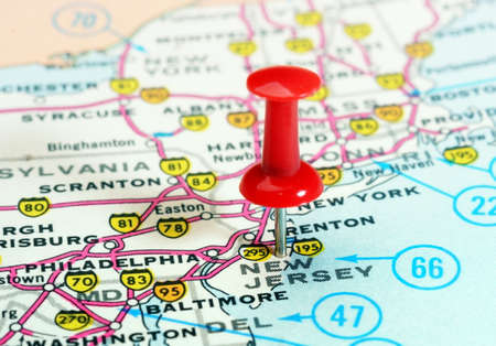 Close up of New Jersey  state USA map with red pin - Travel concept Archivio Fotografico